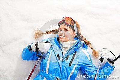 Lying skier