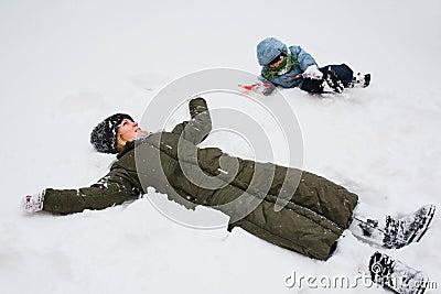 Lying in snow