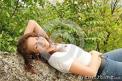 Lying on stones
