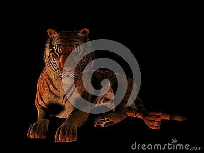 Lying tiger isolated on black.