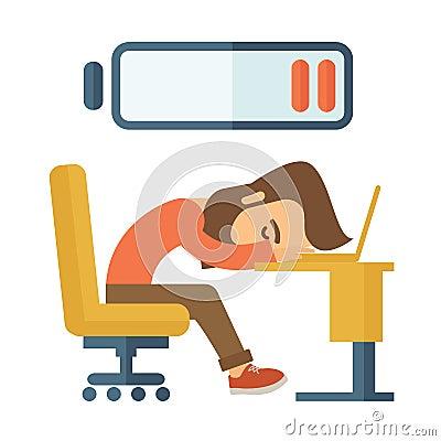 Lying Tired Employee Stock Vector Image 52643443