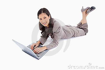 Lying woman with her laptop
