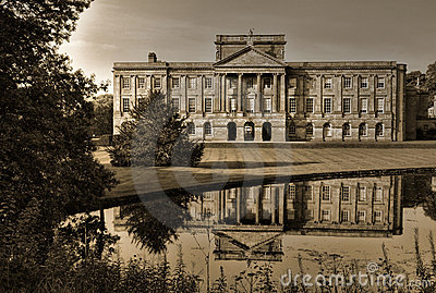 Lyme Hall, back side with mirror pool