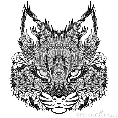 LYNX / Bobcat Head Tattoo. Psychedelic Stock Vector - Image: 41443820