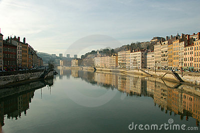 Lyon, early morning view over the Rhone