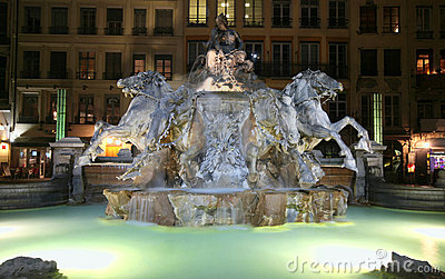 Lyon Horse Fountain at Night