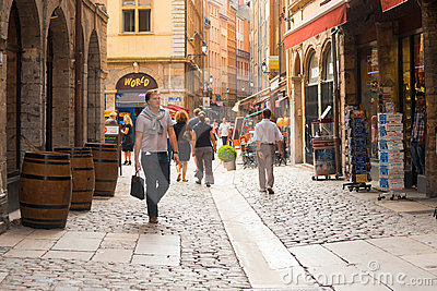 Lyon Rue St. Jean Shopping Street Editorial Stock Photo