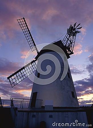 Lytham windmill, dusk, Lancashire