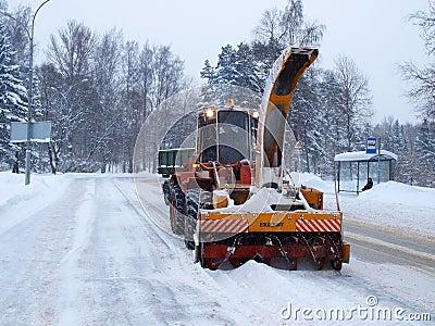 Máquina del retiro de nieve Imagen de archivo editorial