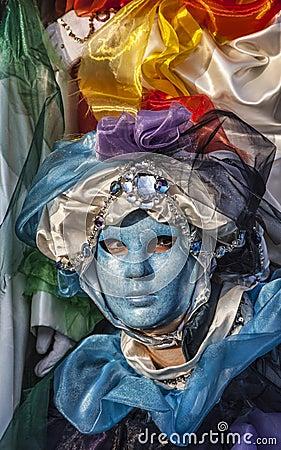 Máscara veneciana azul Foto de archivo editorial
