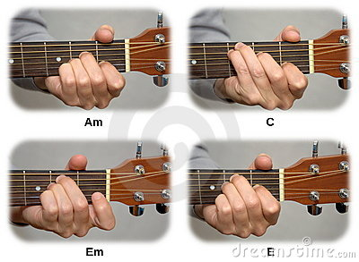 Mão do guitarrista que joga cordas da guitarra: Am, C, Em, E