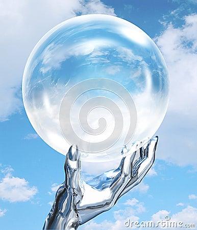 Mão do robô com globo