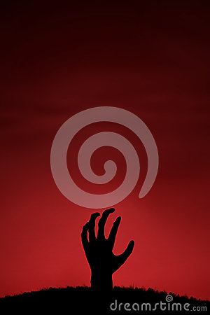 Mão do zombi que vem acima