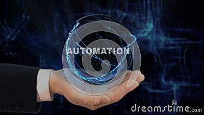 A mão pintada mostra a automatização do holograma do conceito em sua mão video estoque