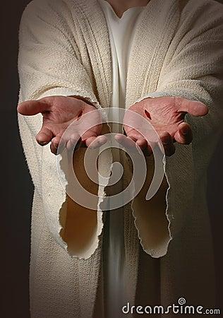 Mãos de Jesus com cicatrizes