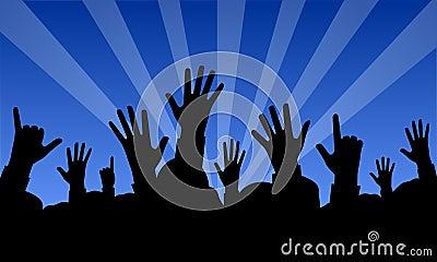 Mãos levantadas em um concerto