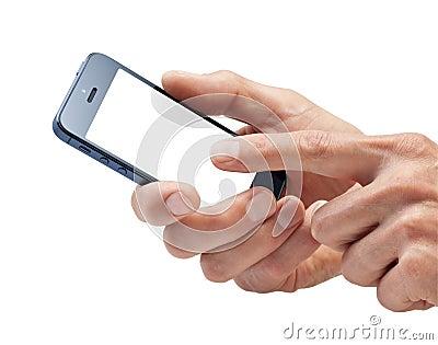 Mãos usando o telefone de pilha