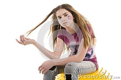 Mädchen auf einer Kugel
