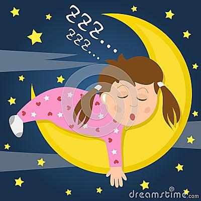 Mädchen, das auf dem Mond schläft