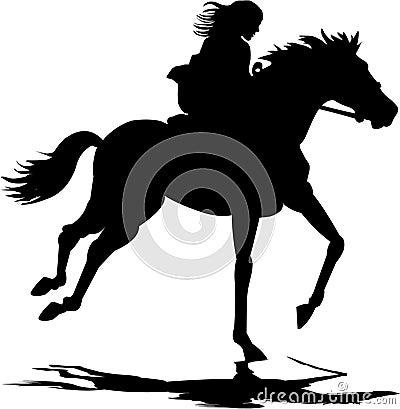 Mädchen, das ein Pferd reitet