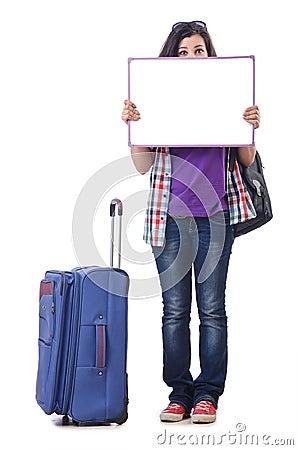Mädchen, das sich vorbereitet zu reisen