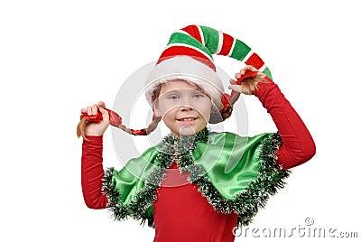 Mädchen in der klage der weihnachtselfe auf einem weiß lizenzfreies