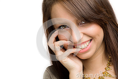 Mädchen mit toothy Lächeln