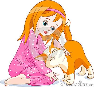 Mädchen und Katze