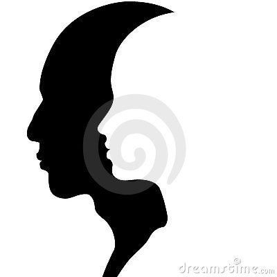 Männlicher u. weiblicher Kopf