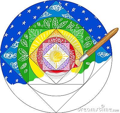 Målning av en mandala
