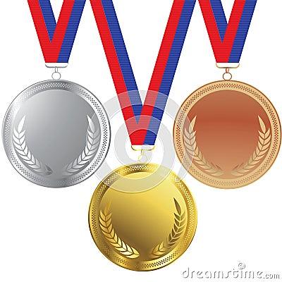 Médailles d or, argentées et de bronze