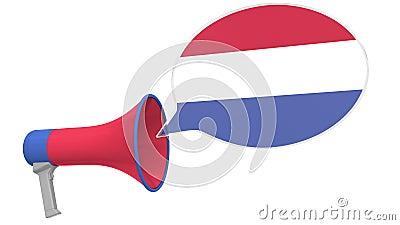 Mégaphone et drapeau des Pays-Bas sur le ballon d'expression Langue ou déclaration nationale 3D conceptuel connexe clips vidéos