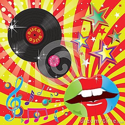 Música do disco e ilustração do evento da dança