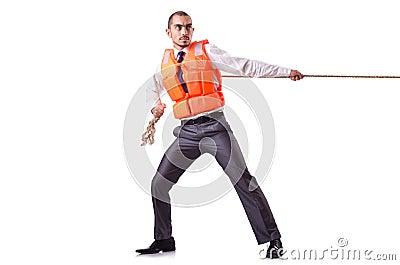 Mężczyzna w kamizelce ratunkowej