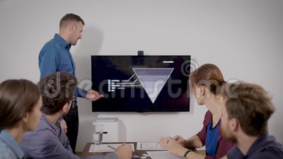 Mężczyzna wyjaśnia plan i mapę swoich kolegów siedzących w sali konferencyjnej w biurze, przedstawiając raport zbiory