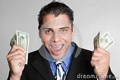 Mężczyzna z podnieceniem pieniądze
