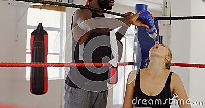 Męska trenera karmienia woda żeński bokser w bokserskim pierścionku 4k zbiory