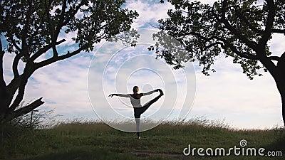 Młodej kobiety ćwiczy joga w naturze zbiory wideo