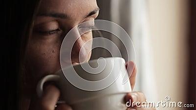 Młody atrakcyjny kobiety obsiadanie blisko pić herbaty i okno zdjęcie wideo