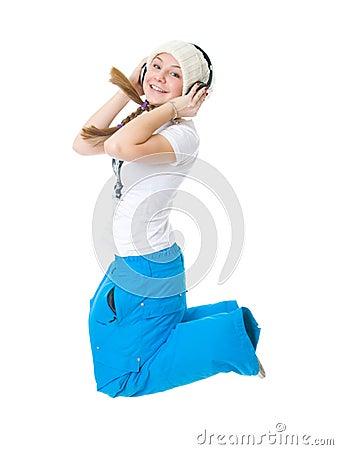 Młodzi dziewczyna hełmofony