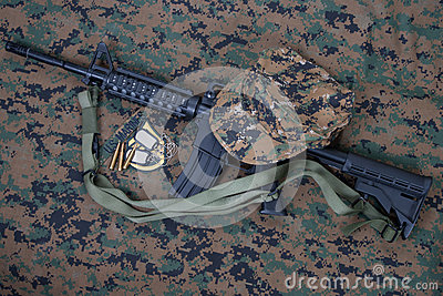 M4 carbine and blank dog tags
