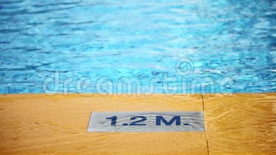 1 2 M Depth Marking On Pool Of The Swimming Pool Depth Sign Stock