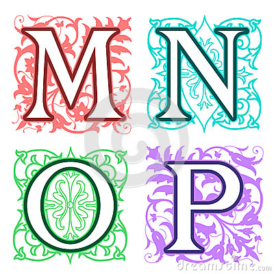 M N O P Alphabet Letters Floral Elements Stock Image