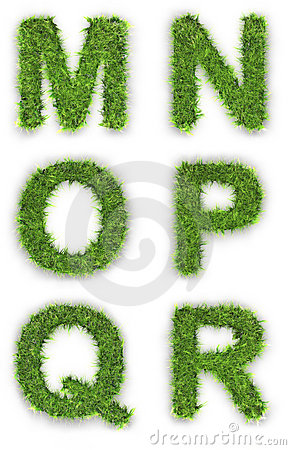 M,n,o,p,q,r made of green grass
