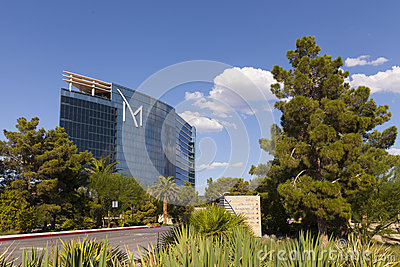 M resort hotel with sunny, blue skies in Las Vegas, NV on August Editorial Stock Photo
