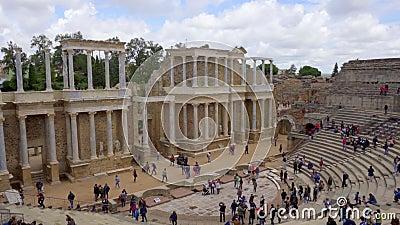 M?rida, Spanien April 2019: Antike Roman Theatre in M?rida, Spanien stock video
