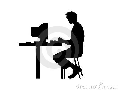 M஠typing at a computer