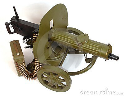 M1910 machine gun with ammo belt.