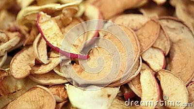 Maçãs cortadas de fruta secas filme