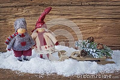 Mała dwa dekoracja Santa